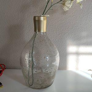 Pier 1 Bubble Glass Vase w/ Gold Accent